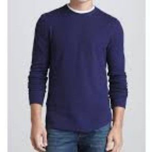 Vince Blue Long Sleeve Thermal Shirt Blue Large